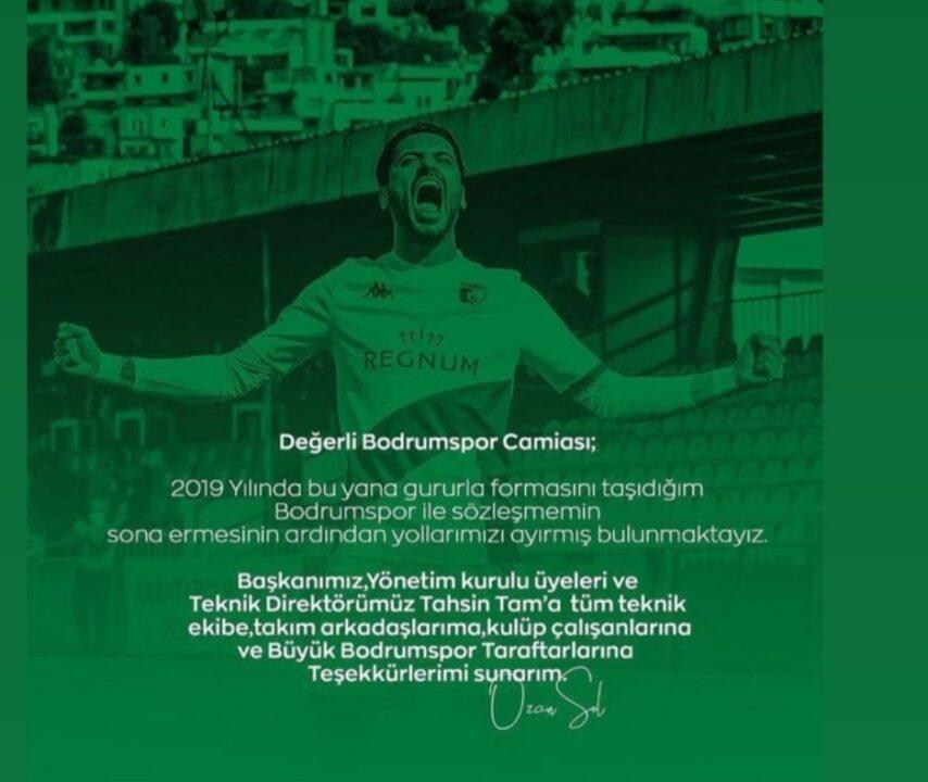 OZAN SOL'DAN BODRUMSPOR'A TEŞEKKÜR