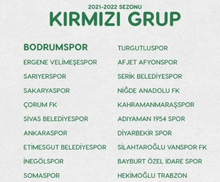 2.LİG'DE GRUPLAR BELİRLENDİ, BODRUMSPOR KIRMIZI GRUPTA